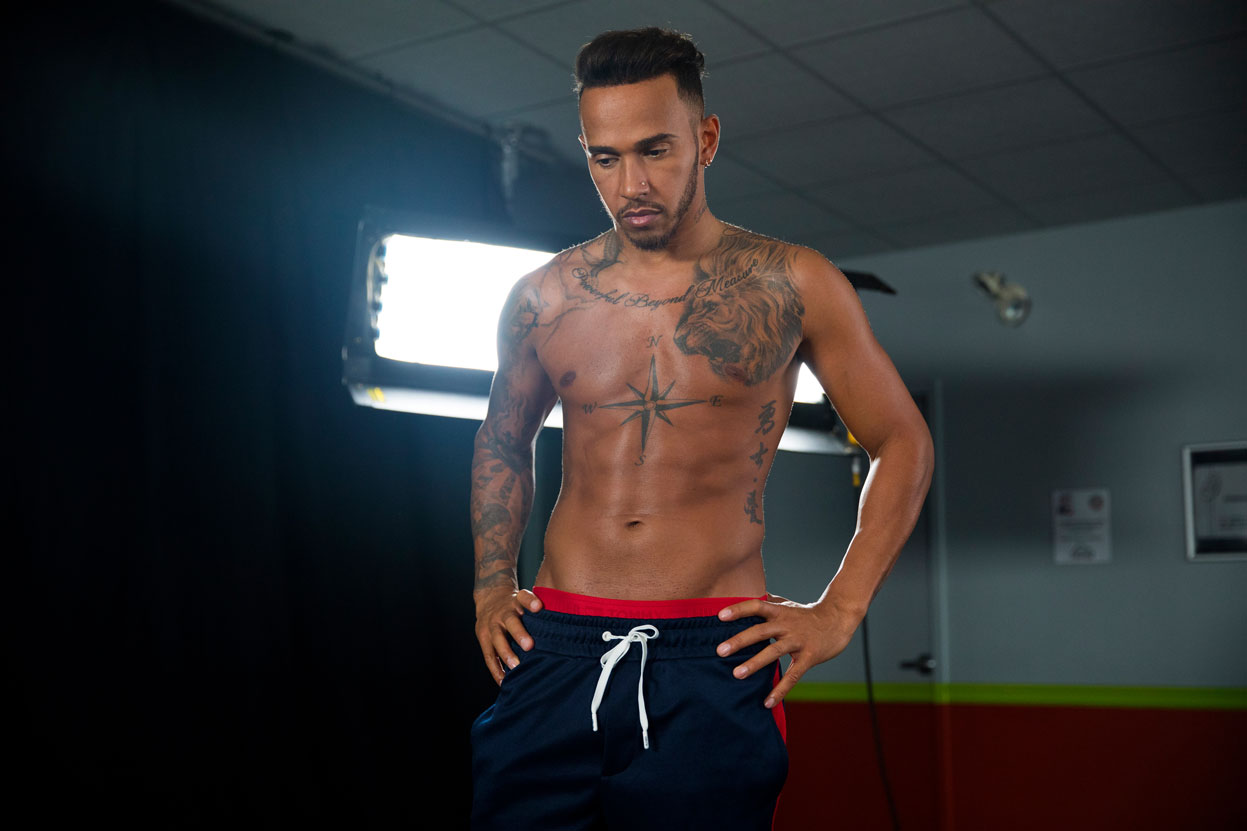 f72a31fd Lewis Hamilton behind the scenes on the Tommy Hilfiger Men's Spring 2018  campaign shoot. Credit: Supplied
